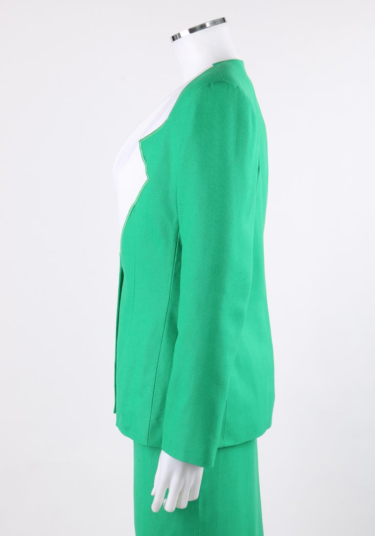GIVENCHY S/S 1998 ALEXANDER McQUEEN 2pc Green Asymmetric Panel Skirt Suit Set For Sale 1