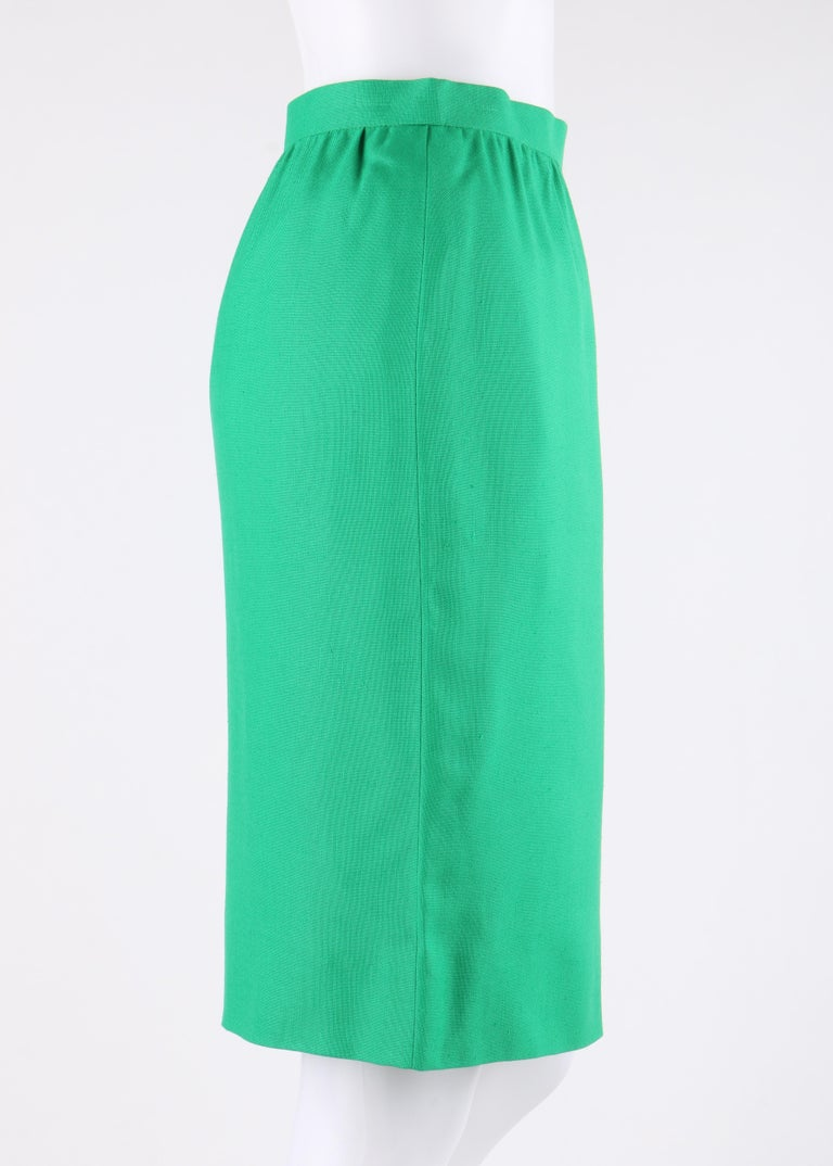 GIVENCHY S/S 1998 ALEXANDER McQUEEN 2pc Green Asymmetric Panel Skirt Suit Set For Sale 3