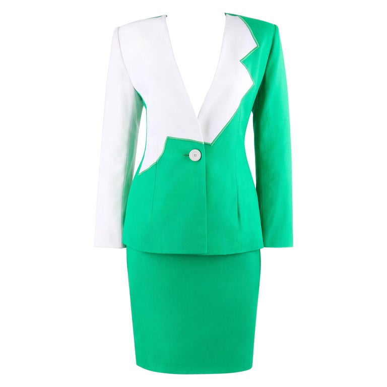 GIVENCHY S/S 1998 ALEXANDER McQUEEN 2pc Green Asymmetric Panel Skirt Suit Set For Sale