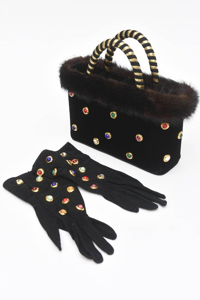 Givenchy Set of Black Suede Gloves & Black Velvet Stone & Fur Evening Bag 60's For Sale 6