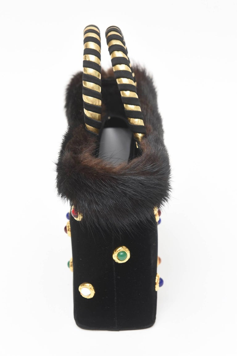 Givenchy Set of Black Suede Gloves & Black Velvet Stone & Fur Evening Bag 60's In Good Condition For Sale In North Miami, FL