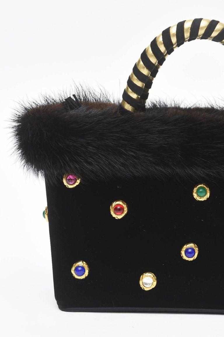 Givenchy Set of Black Suede Gloves & Black Velvet Stone & Fur Evening Bag 60's For Sale 1