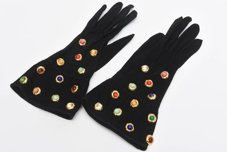 Givenchy Set of Black Suede Gloves & Black Velvet Stone & Fur Evening Bag 60's For Sale 2