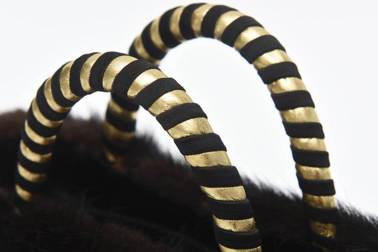 Givenchy Set of Black Suede Gloves & Black Velvet Stone & Fur Evening Bag 60's For Sale 5