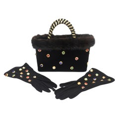 Givenchy Set of Black Suede Gloves & Black Velvet Stone & Fur Evening Bag 60's