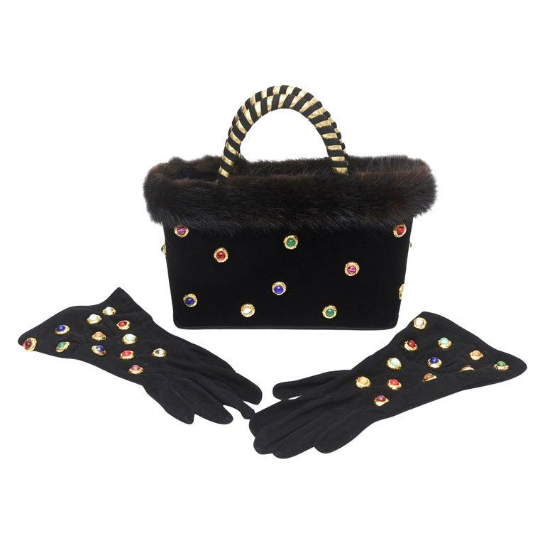 Givenchy Set of Black Suede Gloves & Black Velvet Stone & Fur Evening Bag 60's For Sale