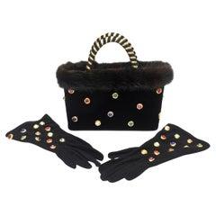 Givenchy Set of Black Suede Gloves & Black Velvet Stone & Fur Evening Bag 60's