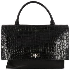 Givenchy Shark Convertible Satchel Crocodile Embossed Leather Medium