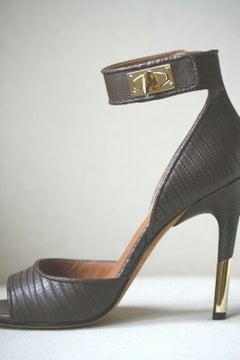 Givenchy Shark Lock Lizard-Effect Leather Platform Sandals