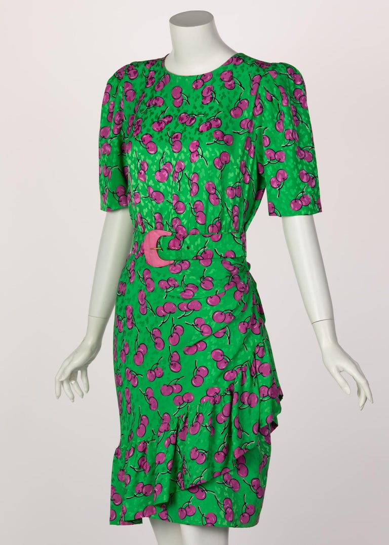 Givenchy Silk Green Cherry Print Cocktail Dress, 1980s In Excellent Condition For Sale In Boca Raton, FL