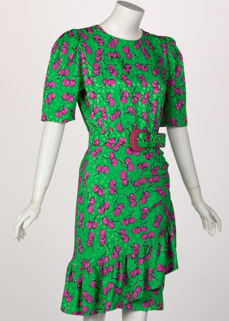 Women's Givenchy Silk Green Cherry Print Cocktail Dress, 1980s For Sale