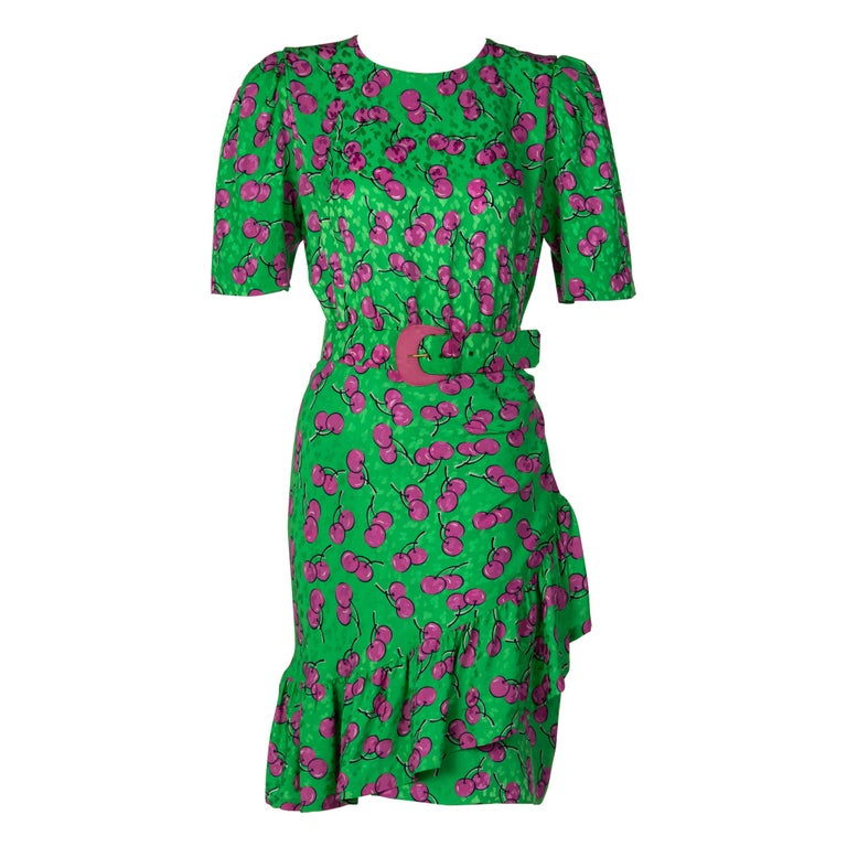 Givenchy Silk Green Cherry Print Cocktail Dress, 1980s For Sale