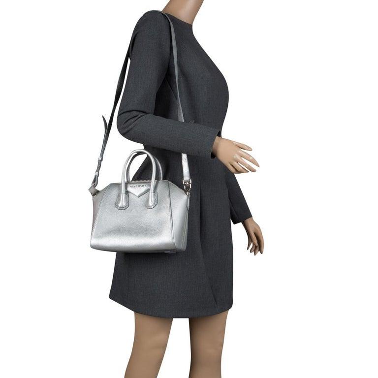 5e98fa20616a Givenchy Silver Leather Mini Antigona Satchel For Sale at 1stdibs
