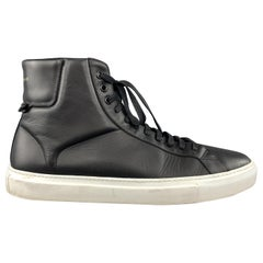 GIVENCHY Size 12 Black Leather White Rubber Sole High Top Codification Sneakers