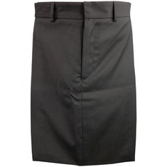 GIVENCHY Size 28 Black Wool Zip Fly Introductory Skirt