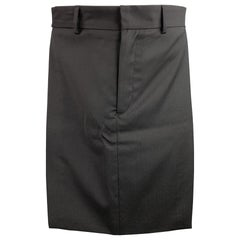 GIVENCHY Size 32 Black Wool Zip Fly Introductory Skirt