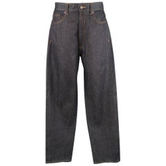 GIVENCHY Size 32 Dark Navy Denim Black Stripe Bar Jeans