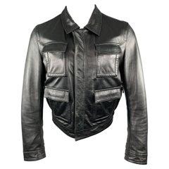 GIVENCHY Size 38 Black Leather Collared Flap Pocket Jacket