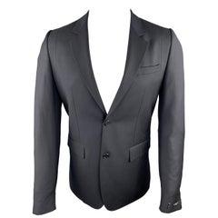 GIVENCHY Size 38 Black on Black Stripe Wool Notch Lapel Sport Coat