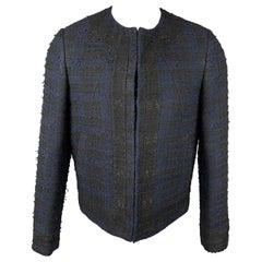 GIVENCHY Size 38 Navy & Black Tweed Acrylic Blend Collarless Jacket