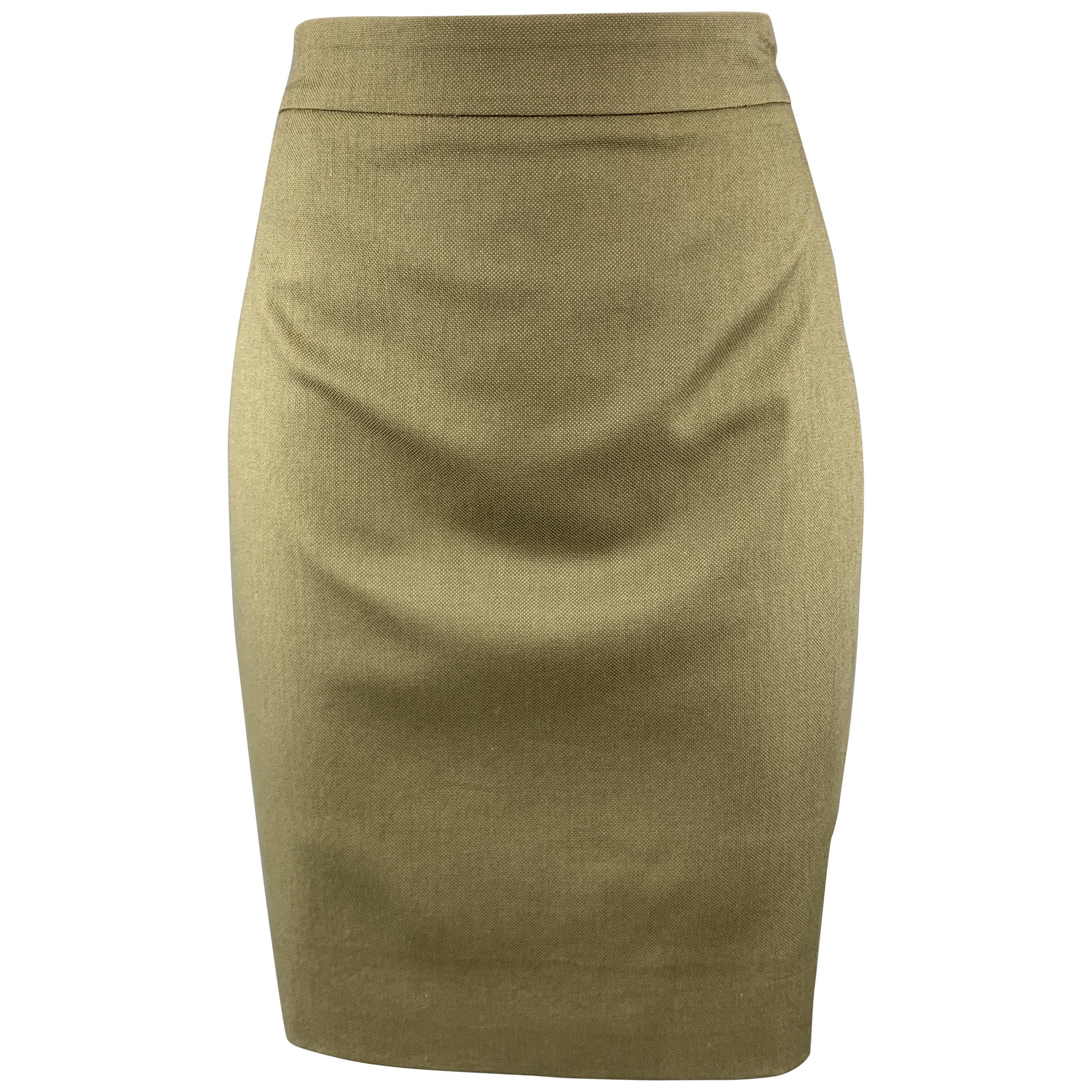 GIVENCHY Size 4 Olive Cotton Blend Canvas Pencil Skirt