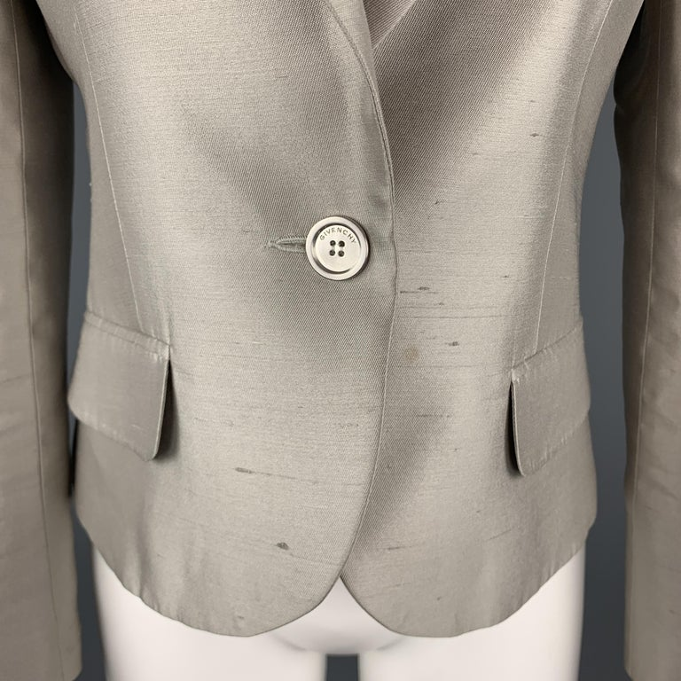 GIVENCHY Size 6 Silver Silk Shangtung Copped Blazer Jacket In Good Condition For Sale In San Francisco, CA