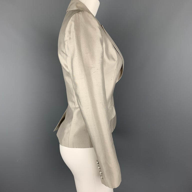 GIVENCHY Size 6 Silver Silk Shangtung Copped Blazer Jacket For Sale 1