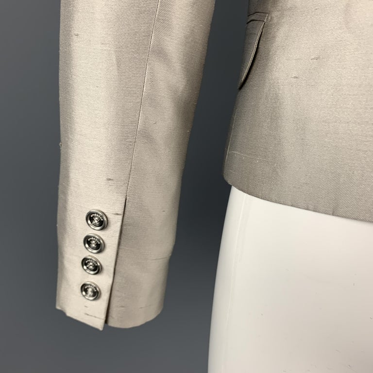 GIVENCHY Size 6 Silver Silk Shangtung Copped Blazer Jacket For Sale 3