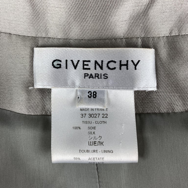 GIVENCHY Size 6 Silver Silk Shangtung Copped Blazer Jacket For Sale 4