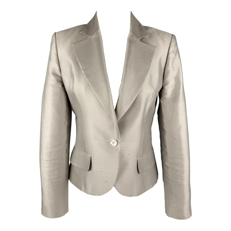 GIVENCHY Size 6 Silver Silk Shangtung Copped Blazer Jacket For Sale