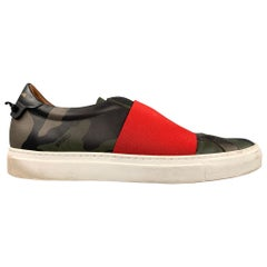 GIVENCHY Size 9 Olive Camouflage Leather Slip On Sneakers
