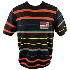 GIVENCHY Size M Black & Multi-Color Stripe Wool Crew-Neck Pullover