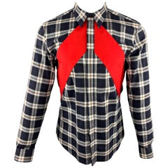 GIVENCHY Size M Navy & White Plaid Cotton Hidden Buttons Long Sleeve Shirt