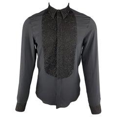 GIVENCHY Size S Black Silk Lace Bib Long Sleeve Tuxedo Shirt