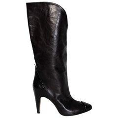Givenchy Snake Skin Trim Leather Boots (EU 36)