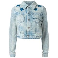 Givenchy Star Appliquéd Cropped Denim Jacket