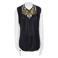 GIVENCHY TISCI 100% silk yellow acrylic applique collar sleeveless top FR38 S