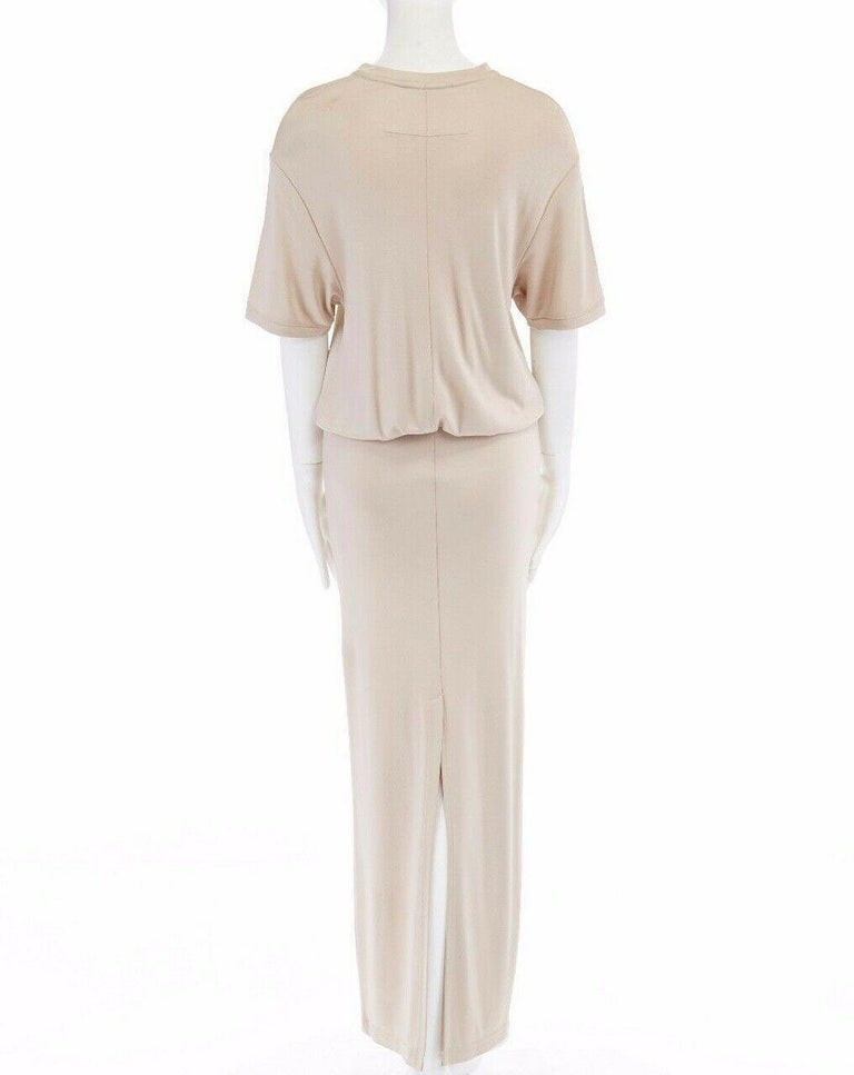 GIVENCHY TISCI beige nude viscose loose tshirt maxi skirt design dress gown FR38  GIVENCHY by RICCARDO TISCI 100% viscose . Beige nude . Oversized t-shirt tucked into skirt design . Ribbed crew neck . Oversized t-shirt with dropped shoulder seams .