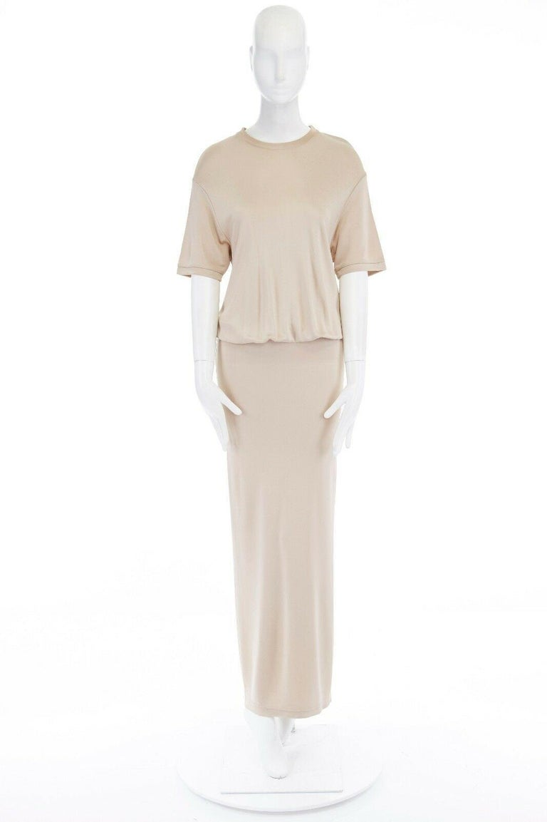 Beige GIVENCHY TISCI beige nude viscose loose tshirt maxi skirt design dress gown FR38