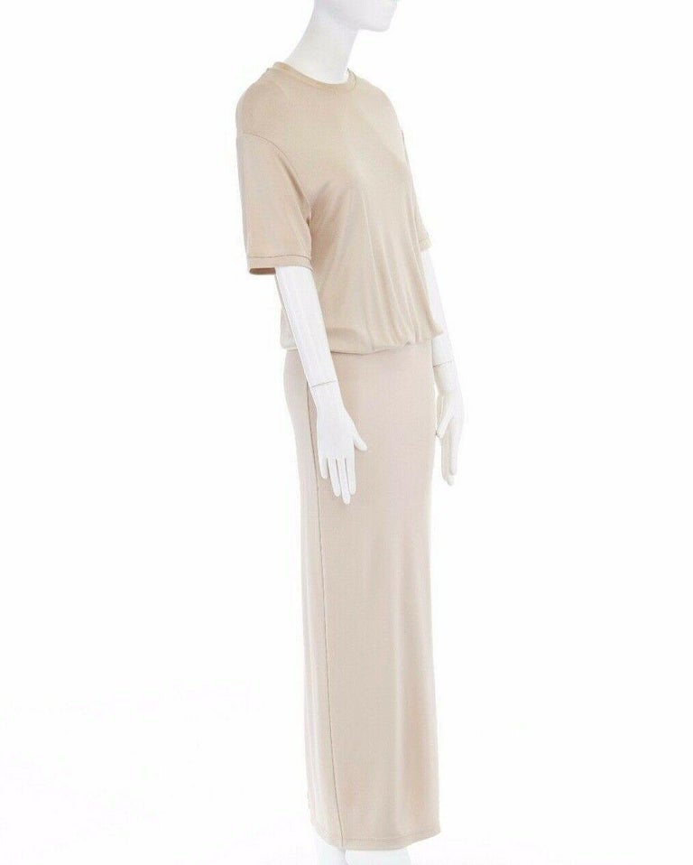 GIVENCHY TISCI beige nude viscose loose tshirt maxi skirt design dress gown FR38 In Excellent Condition In Hong Kong, NT