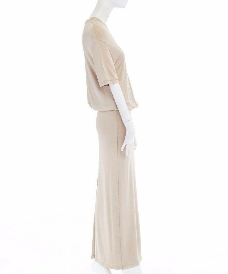 Women's GIVENCHY TISCI beige nude viscose loose tshirt maxi skirt design dress gown FR38
