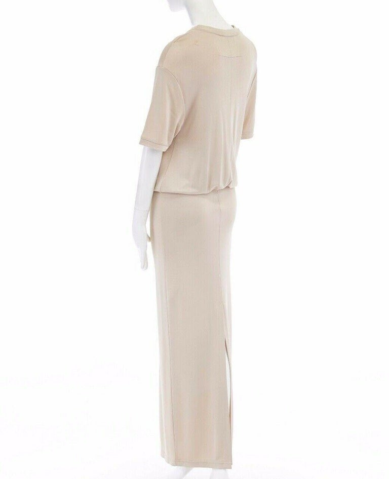 GIVENCHY TISCI beige nude viscose loose tshirt maxi skirt design dress gown FR38 1