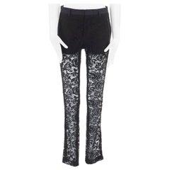 GIVENCHY TISCI black floral lace faux pocket trim shorts lined tux pants FR36 S