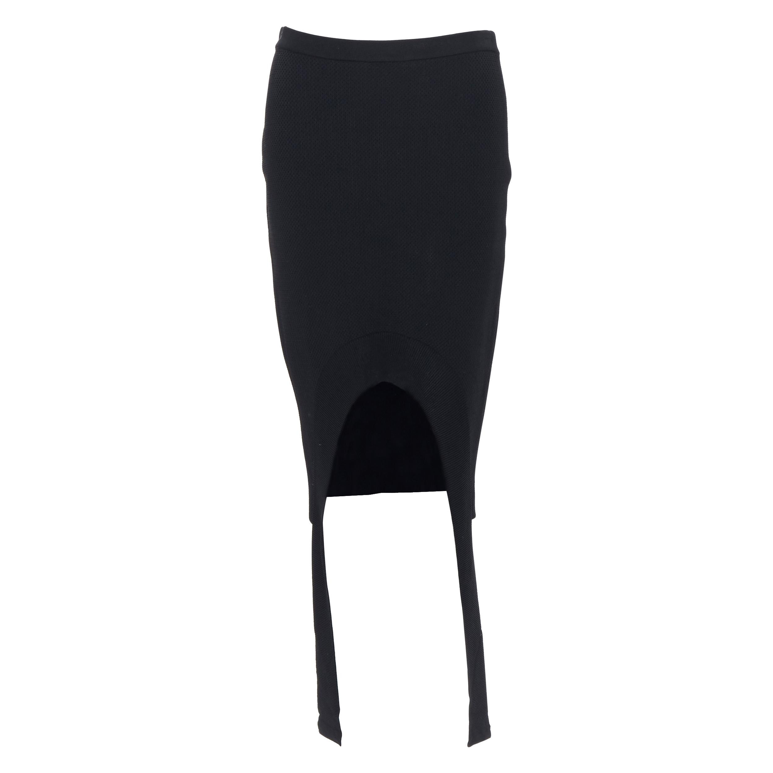 """GIVENCHY TISCI black viscose knit curved front draped strap pencil skirt S 25"""""""