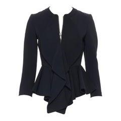 GIVENCHY TISCI black viscose petal ruffle front peplum zip blazer jacket FR34