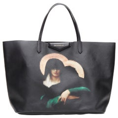 GIVENCHY TISCI Madonna pixelated print black saffiano leather large tote bag