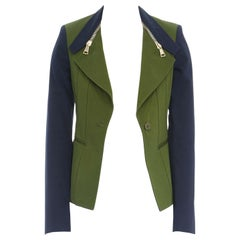 GIVENCHY TISCI military green navy blue sleeve zip collar cutaway jacket FR34 XS