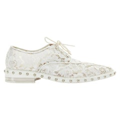GIVENCHY TISCI white floral lace mesh silver stud outsole lace up brogue EU39