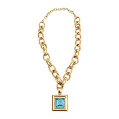 Givenchy Turquoise Chain and Glass Medallion Link Necklace