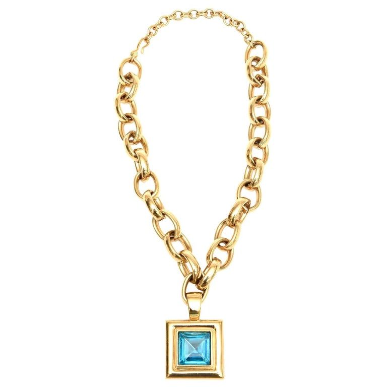 Givenchy Turquoise Chain and Glass Medallion Link Necklace Vintage For Sale